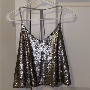 Silver sequin tank top